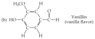 Vanillin (vanilla flavor) has the same structure as the molecule in part (a), except two additional carbons are single bonded to a group other than H. The C in the left point is single bonded left to OH, and the C in the upper left vertex is single bonded to OCH3.