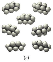The figure shows one type of cluster. There are seven clusters. Each of them contains a chain consisting of four fused black spheres with ten white spheres attached.
