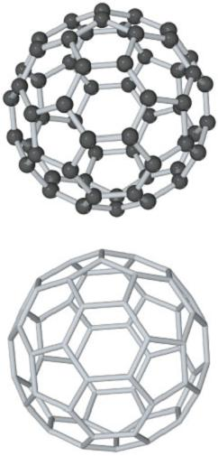 A diagram shows hollow spheres with and without the carbon atoms that consist of a honeycomb structure (connected six and five membered rings). Each carbon atom forms three bonds.