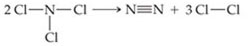 NCl3 is N single bonded left, right, and below to Cl.  N2 is N triple bonded to N.  The product is Cl2, which is Cl single bonded to Cl.