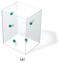 The figure labeled A shows a cube of a fixed volume. It contains 5 middle-sized molecules of gas.