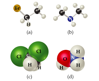 (a) Br is single bonded to CH2, which is single bonded to CH3. (b) CH3 is single bonded to NH, which is single bonded to CH3. (c) Cl is bonded to CH2, which is bonded to Cl. (d) OH is bonded to NH2.