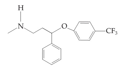 The figure shows a structure of Prozac. It has a six-membered chain, with the second (from left to right) member replaced with an NH group and the sixth member replaced with an O atom. The remaining chain members are carbon atoms. A benzene ring is attached to the O atom and to the carbon next to the O atom. In the oxygen-bonded benzene ring, there is a CF3 group attached to the carbon opposite to the one bonded to the O.