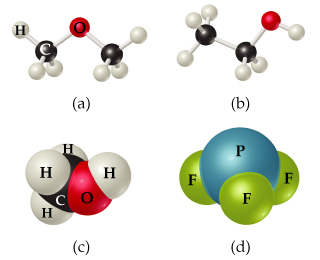 (a) A carbon atom is single bonded to 3 hydrogen atoms and to oxygen. Oxygen is single bonded to a second carbon atom that is also single bonded to 3 H atoms. (b) Two carbon atoms are joined by a single bond. The left carbon is single bonded to three Hs and the right is single bonded to two Hs and an OH. (c) CH3 is bonded to OH. (d) P is bonded to 3 Fs.
