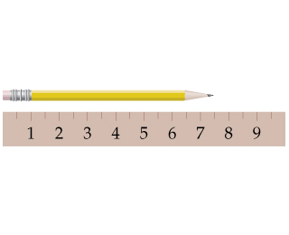 A pencil lies over a ruler beginning with the same point. The ruler has 19 equally spaced markings. The even marks are labeled from 1 to 9. The tip of the pencil touches the marking that is centrally arranged between the seventh and the eighth markings.
