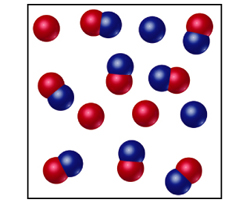 3 red spheres, 2 blue spheres, and 8 fused red and blue spheres.