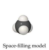A space-filling model consists of a central sphere (carbon) which is fused on four sides to four smaller spheres (hydrogens).