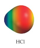 HCl appears as a small sphere fused with a larger sphere.  The molecule appears with a steady gradient, progressively ranging from mostly high electron density on the larger end to low electron density on the smaller end.