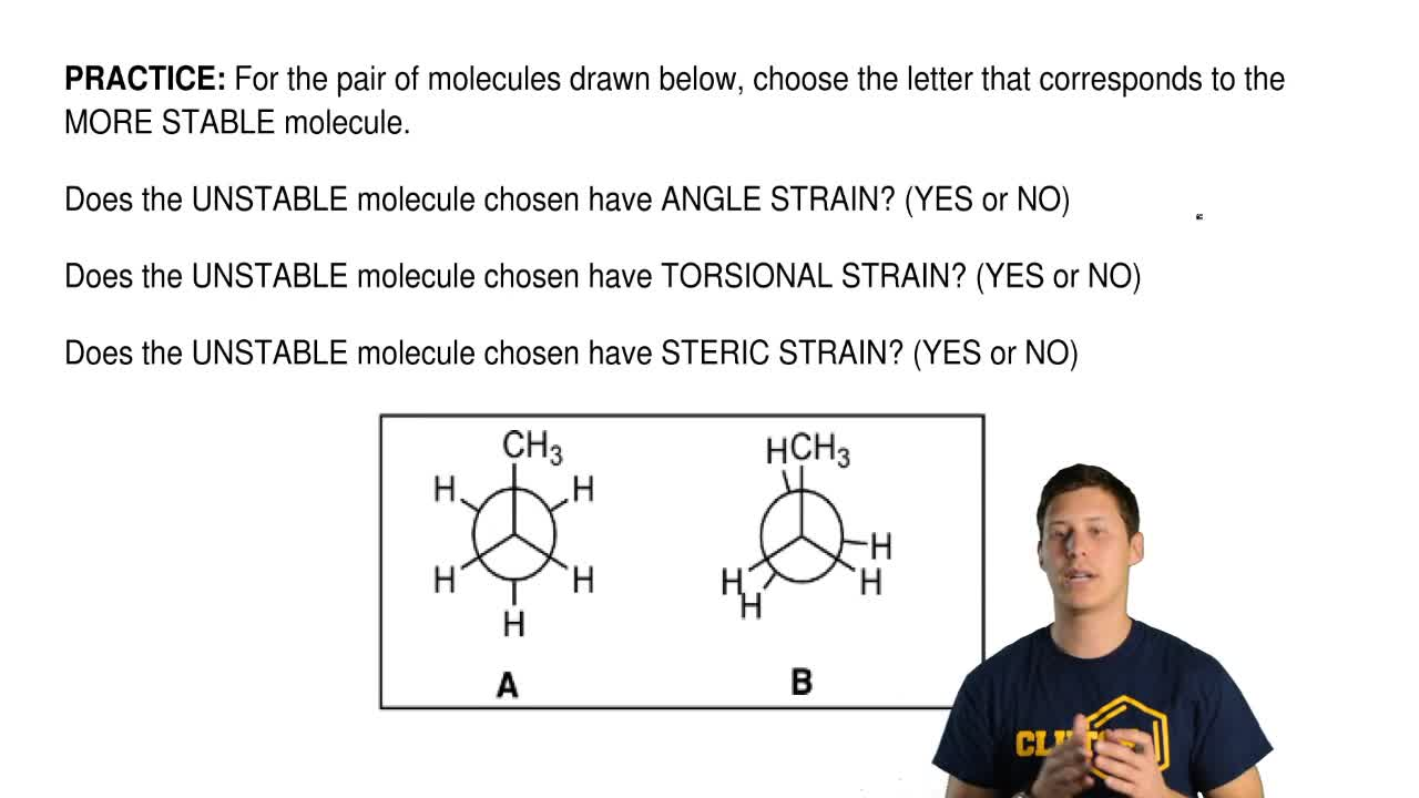 For the pair of molecules drawn below, choose the letter that corresponds to...