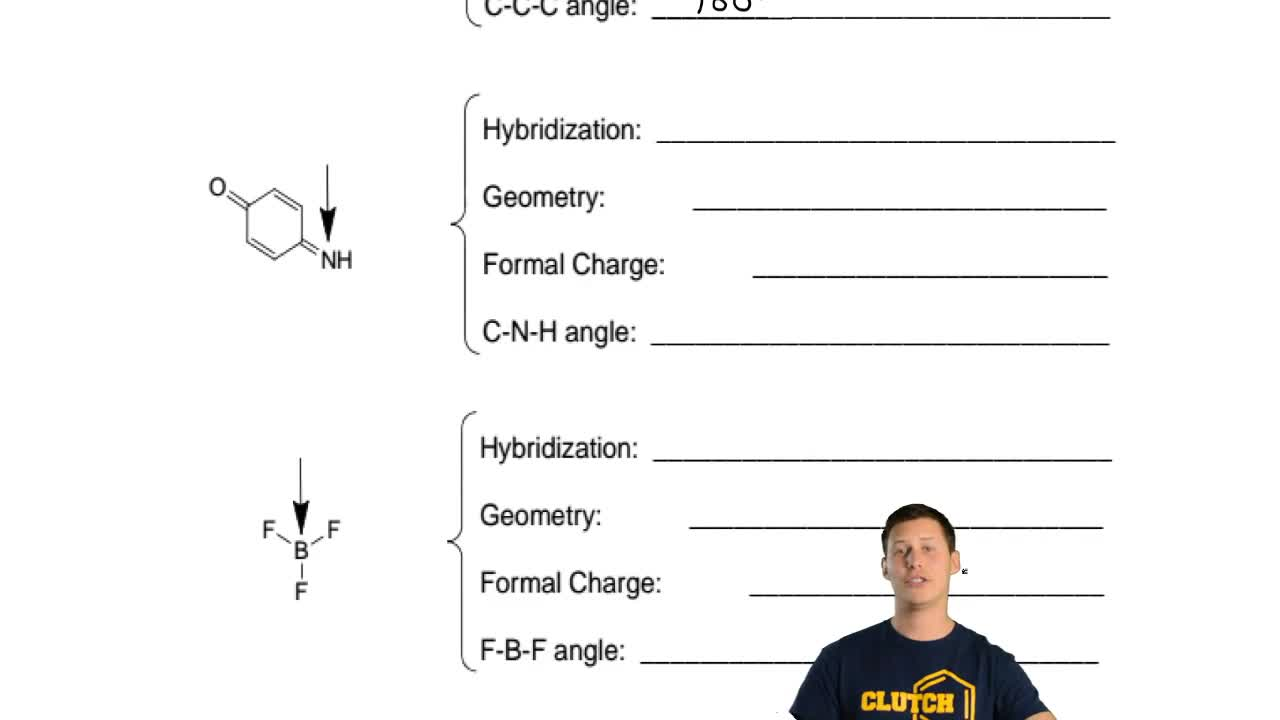 Give the hybridization, VSEPR, geometry, charge and angle of the indicated ato...