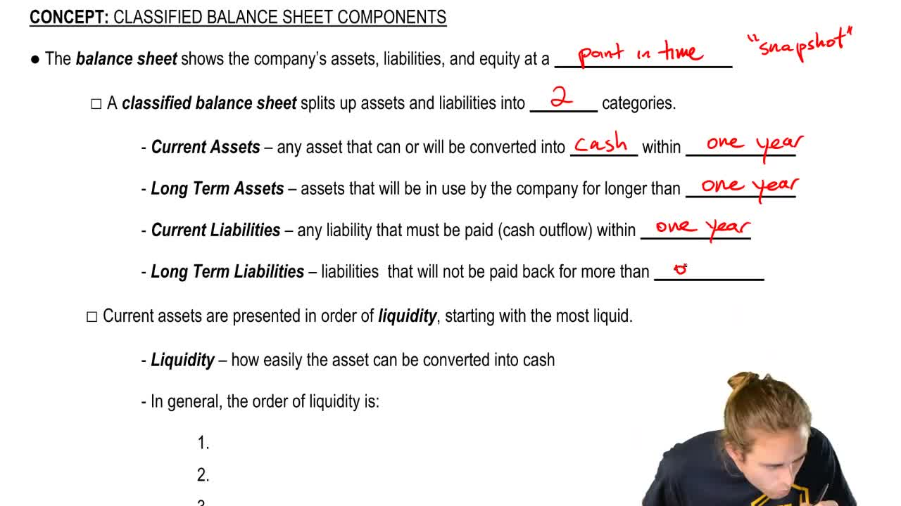 Classified Balance Sheet Components Accounting Video Clutch Prep