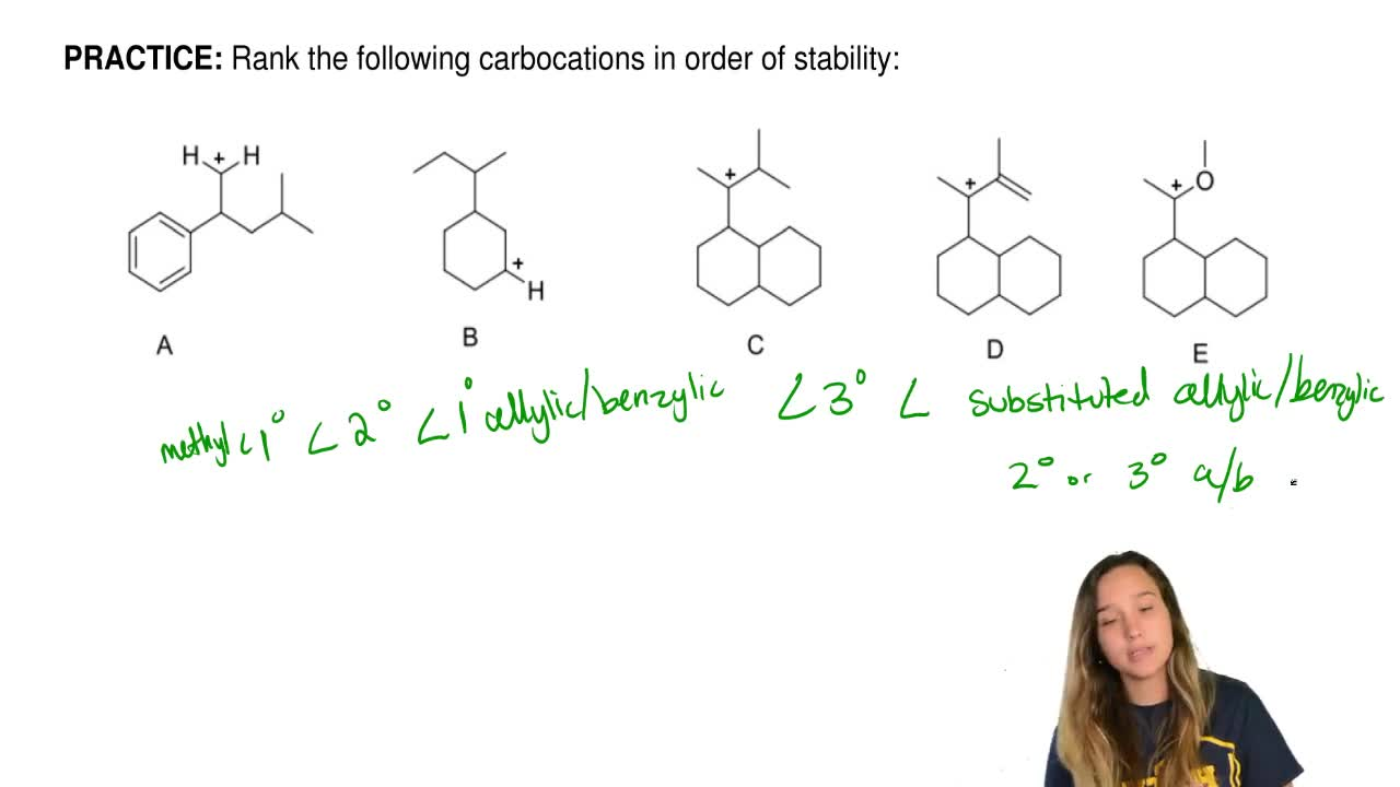 Rank the following carbocations in order of stability: ...