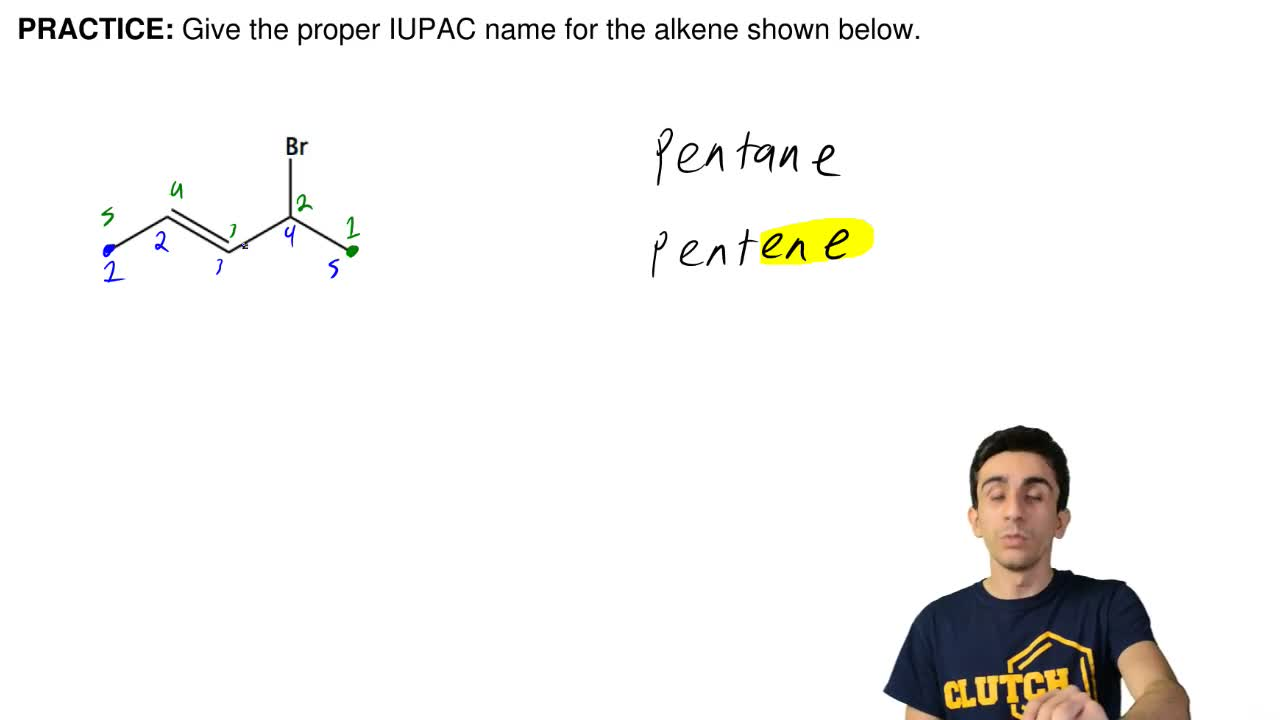 Give the proper IUPAC name for the alkene shown below. ...
