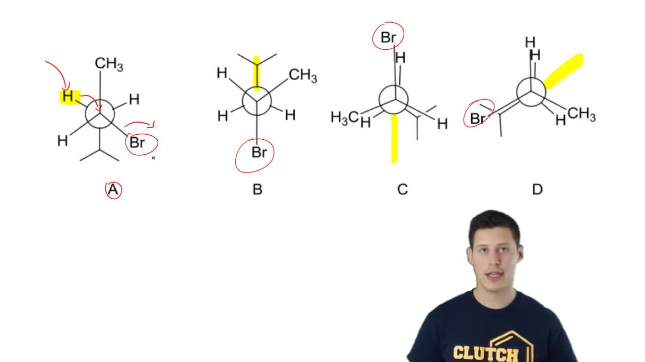 Which conformer of 2-bromo-4-methylpentane will most readily react in an E2 fa...