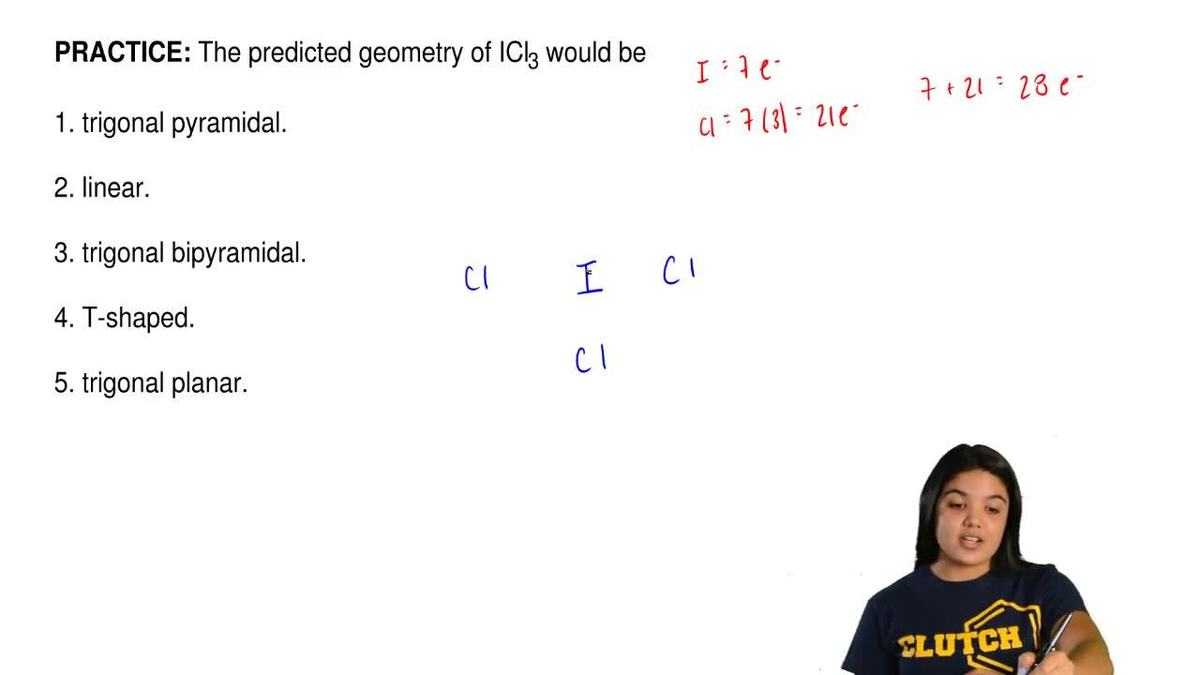 The predicted geometry of icl3 would be 1 t clutch prep pooptronica