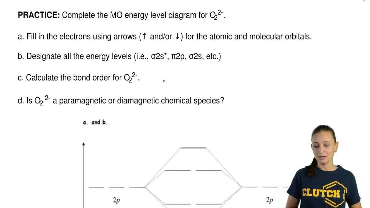 Complete the mo energy level diagram for o22 clutch prep pooptronica Gallery