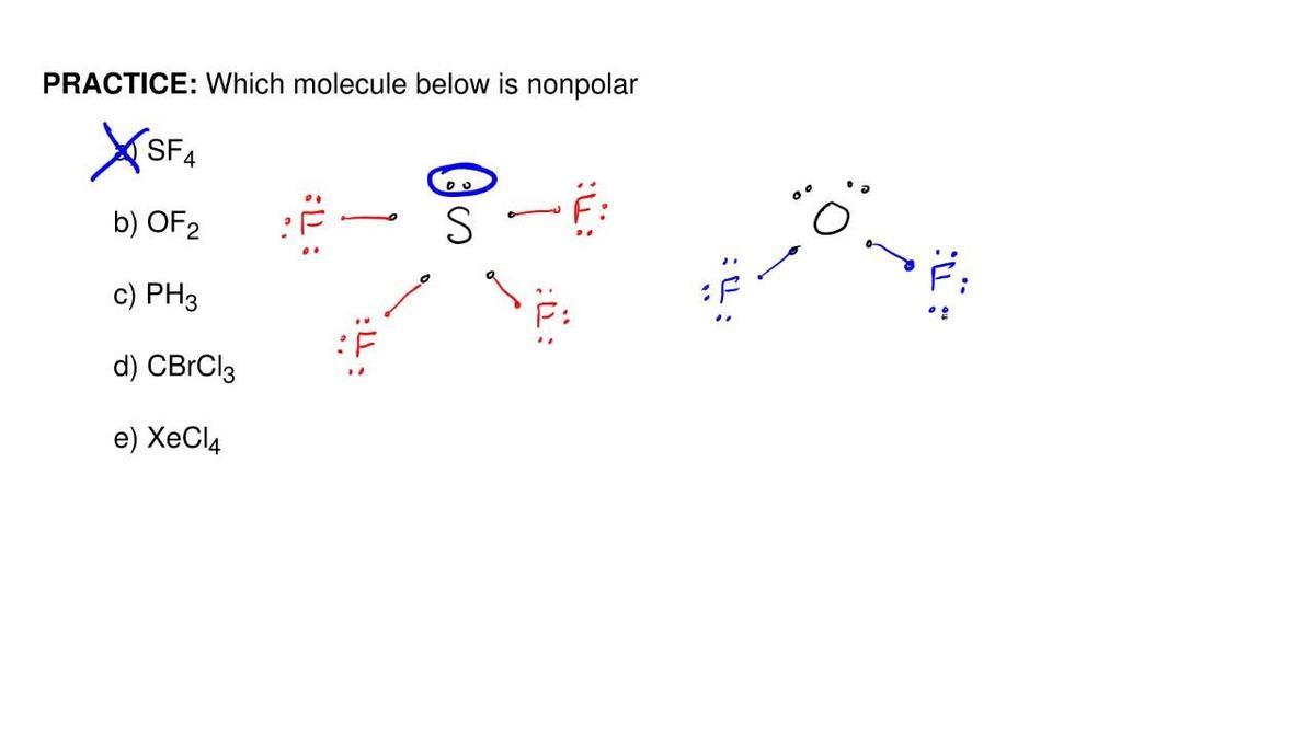 Which molecule below is nonpolar a sf4 b clutch prep pooptronica