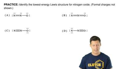Identify the lowest-energy Lewis structure for nitrogen oxide. (Formal charges...