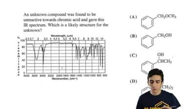 An unknown compound was found to be unreactive towards chromic acid and gave t...