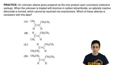 An unknown alkene gives propanal as the only product upon ozonolysis (reductiv...