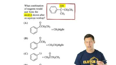 What combination of reagents would not form the alcohol shown after an aqueous...
