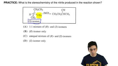 What is the stereochemistry of the nitrile produced in the reaction shown? ...