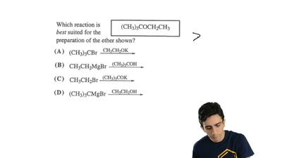 Determine which reaction is best suited for the preparation of the ether (CH3)...