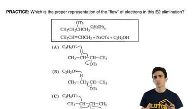 "Which is the proper representation of the ""flow"" of electrons in this E2 elimi..."