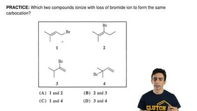 Which two compounds ionize with loss of bromide ion to form the same carbocati...