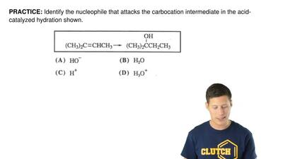 Identify the nucleophile that attacks the carbocation intermediate in the acid...