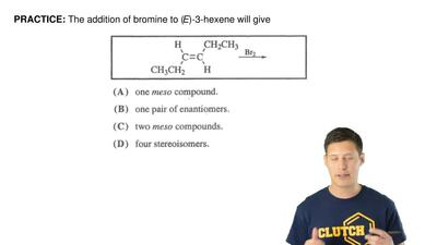 The addition of bromine to (E)-3-hexene will give ...