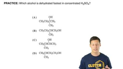 Which alcohol is dehydrated fastest in concentrated H2SO4?    ...
