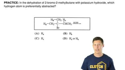 In the dehydration of 2-bromo-2-methylbutane with potassium hydroxide, which h...