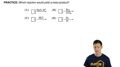 Which reaction would yield a meso product? ...