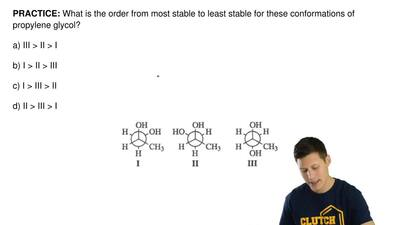 What is the order from most stable to least stable for these conformations of ...