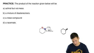 The product of the reaction given below will be  a) achiral but not meso.  b) ...