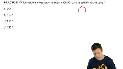 Which value is closest to the internal C-C-C bond angle in cyclohexane?  a) 90...