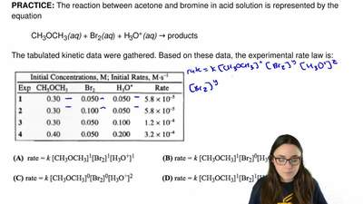 The reaction between acetone and bromine in acid solution is represented by th...