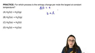 For which process is the entropy change per mole the largest at constant tempe...