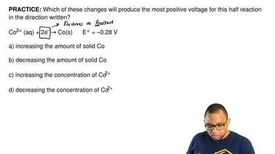 Which of these changes will produce the most positive voltage for this half re...