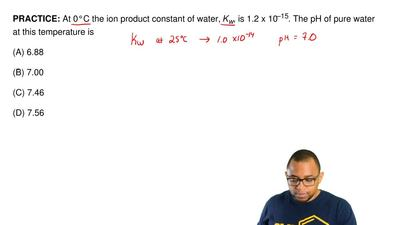 At 0°C the ion product constant of water, Kw, is 1.2 x 10–15. The pH of pure ...
