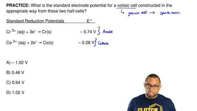 What is the standard electrode potential for a voltaic cell constructed in the...