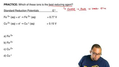 Which of these ions is the best reducing agent?   Standard Reduction Potential...