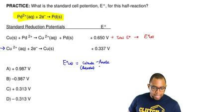 What is the standard cell potention, E°, for this half-reaction?  Pd2+(aq) + 2...