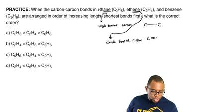 When the carbon-carbon bonds in ethane (C2H6), ethene (C2H4), and benzene (C6H...