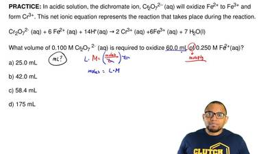 In acidic solution, the dichromate ion, Cr2O72– (aq) will oxidize Fe2+ to Fe3+...