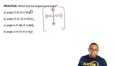 Which has the largest bond angle?  a) angle O–S–O in SO42–  b) angle Cl–C–Cl i...