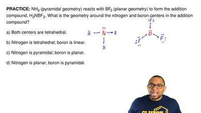 NH3 (pyramidal geometry) reacts with BF3 (planar geometry) to form the additio...