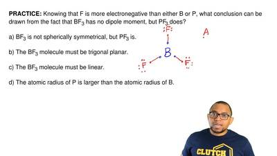 Knowing that F is more electronegative than either B or P, what conclusion can...