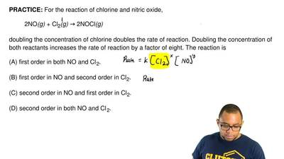 For the reaction of chlorine and nitric oxide,   2NO(g) + Cl2(g) → 2NOCl(g)  d...